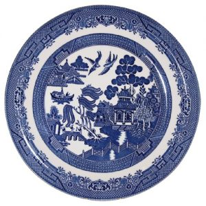 churchill willow pattern blue willow dinner plate